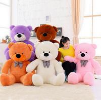 ingrosso big white teddy bear doll-60cm 80cm 100cm gigante enorme enorme giocattoli bambola bianco orsacchiotto peluche ripiene morbidi bambini regalo