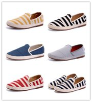 Wholesale colorful skate shoes - New Brand Wholesale Fashion Men espadrilles casual fisherman stripes shoes colorful denim shoes slip on sneakers skate ballet flats loafers
