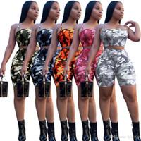 os corpos das mulheres se encaixam na roupa venda por atacado-2018 novas mulheres Treino Set t Camuflagem Amor envolto peito impressão Camisa + Shorts Body Track Suit Set Roupas de Verão set KKA4803