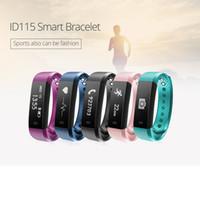 taux de mètre achat en gros de-Nouveau ID115HR Smart Bracelets Bracelet ID115 HR Moniteur de fréquence cardiaque appeler MSM Rappel Fitness Tracker Band Bracelet pour IOS Android DHL