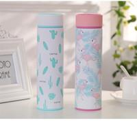 imprimir canecas venda por atacado-Ins Harajuku Cactus Flamingo Impressão de Aço Inoxidável Dos Desenhos Animados de Café Caneca de Viagem Copo Bebendo Copo Isolado