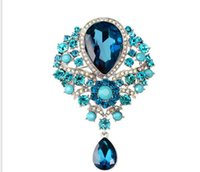 ingrosso spille d'uva-Big Crystal Flower Large Spilla Grape Pins and Brooches Wedding Jewelry Bigiotteria Corpetto Dress Coat Accessori