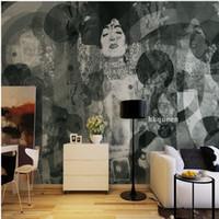 murais de parede japoneses venda por atacado-3D foto papel de parede preto branco pintado à mão japonesa gueixa pintura abstrata fundo parede sala de estar papel de parede mural personalizado