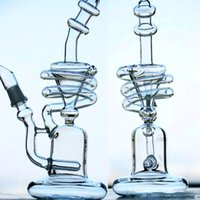 Wholesale high tall - Tornado Type Smoking Water Pipes glass bong Chinese High Quality Spiral Coil Rig 12inch Tall joint 14.4mm Tornado Type Bong recycler glass