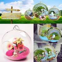 ingrosso piante di terrario-2017 Home Use Diameter 8cm Hanging Glass Flowers Vaso da fiori Stand Terrarium Contenitore Handmade artigianali Regalo Wedding Decor