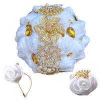 hochzeit sträuße sets großhandel-Weiße Rosen-Brautjungfern-Hochzeits-Schaumblumen Rosen-Brautblumenstrauß Band-Fälschungs-Hochzeitsblumenstrauß Kundengebundene Brautblumensträuße stellten T0273 ein