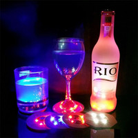 Wholesale pe bar - Led Flashing Bottle Coaster Sticker For Drinks Glasses Night Lights Nights Club Bars Beer Party Decoration Christmas Lamps 3hz gg
