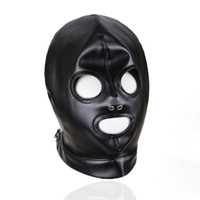 Wholesale face mask woman sex online - Faux Leather Head Face Mask Sex Hood Party Play BDSM Bondage Gear Visable Breathable Slave Adult Toys For Women GN312400011