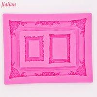 рамки для фото оптовых-Jialian зеркальная фоторамка моделирование 3D силиконовые формы украшения торта прессформы фондант FT-0950