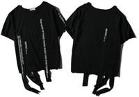 Wholesale Hip Hop Tassels T Shirt - 2018 original brand high street ribbon short sleeves T-shirt dark street hip hop blouse Fashion print short sleeved T - shirt