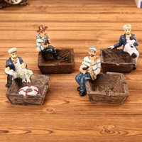 Wholesale european ashtray for sale - Group buy Handmade vintage Mediterranean ashtray creative living room European home ashtray resin decoration personalized gift Pirate crafts