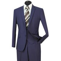 Wholesale usa wedding dresses - STOCK IN USA 2018 Tuxedos Suits Men Wedding Suit Slim Fit Business Groom Suit Set Dress Suits Tuxedo For Men (Jacket+Pants+Vest) ST005