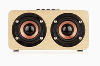 mini haut-parleur alimenté par batterie achat en gros de-W5 Bois Boombox Boîte En Bois Sans Fil Bluetooth Haut-Parleur 10W Haute Puissance Subwoofer 2000mAh Batterie Support TF Carte Câble AUX