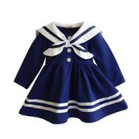 lacivert tarzı bebek elbiseleri toptan satış-Bebek Kız Elbise 2017 Moda Donanma Tarzı Bebek Giysileri Yenidoğan Prenses Parti Doğum Günü Elbiseler Sailor Çocuk Kız Giysileri DQ423
