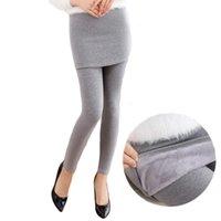 Wholesale Ankle Length Skirted Leggings - 2017 Winter Thick Velvet Leggings Women Plus Size 3XL Fake Two Piece Skinny Hip Skirt Leggings Trousers Slim Women CM1858