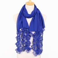 Wholesale scarf hijab sale resale online - Pure Colors Women Hijab Scarf Ethnic Chiffon Bubble Shawls Rose Flower Pattern Headscarf Hot Sale gf B