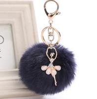 поддельный мех кролика оптовых-Fake Rabbit Fur Ball KeyChain Pompom Key Chain Pom Pom Key Rings Ballet Angel Girl Fourrure Pompon Women Bag Jewelry