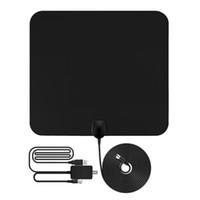 antennensignal großhandel-1080P Antena Digital HDTV Antenne 50 Meilen Reichweite Indoor Flat TV Antenne mit USB Powered Signal Verstärker