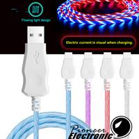 micro usb a la derecha al por mayor-Los cables de tipo C por cable micro USB 1M los 3FT LED derecho fluyen luz LED Micro USB Data Sync cable cargador para Android Samsung Smartphone