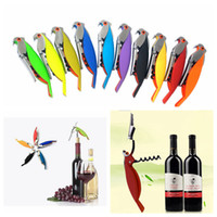 Wholesale bar used bottle for sale - Group buy 10 Colors Parrot Bottle Opener Bird Wine Corkscrew Opener Stainless Steel Wine Corkscrew Bar Tool Easy Use Creative Outdoor Gadgets AAA1305