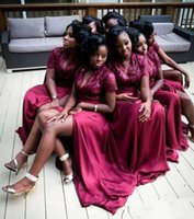 Wholesale high neck prom dress beads top resale online - New Burgundy African Black Girls Bridesmaids Dresses V Neck Short Sleeve Lace Top High Split Long Maid Of Honor Party Prom Gowns Cheap