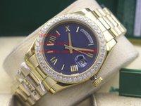 bracelets de diamant bleu achat en gros de-Montres-bracelets de haute qualité 41mm 228239 Cadran bleu diamant série classique Asie 2813 mouvement mécanique montre pour homme montres