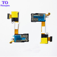 Wholesale sim card socket resale online - For Sony M2 Aqua D2303 D2305 Micro SD SIM Card Reader Socket Holder Tray PCB Flex Cable Ribbon
