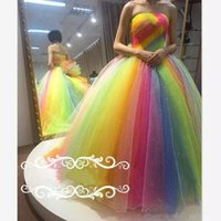 Wholesale rainbow prom dress - Rainbow Organza Crystal Prom Dresses Strapless Backless Flower Ball Gown Evening Gowns Floor Length Plus Size Formal Dress
