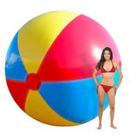şişirme topu toptan satış-130 cm Süper Büyük Dev Şişme PVC Plaj Topu Renkli Yüzme Havuzu Aksesuar Şişirilmiş Topları Yaz Tatili Açık Su Eğlence