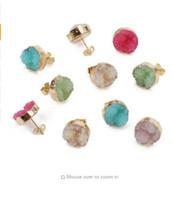 Wholesale earring needles diy for sale - Group buy XINYAO mm Vintage Quartz Crystal Druzy Earrings Stud Pins Needles Earring Base Posts For Diy Earring Making Findings