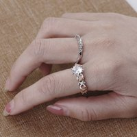 Wholesale Ring Silver Swarovski - Vintage New Set of 2 Silver Dainty Stacking Rings Swarovski Wedding Crystal Ring Stackable Rings Boho Ring Minimalist Jewelry