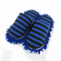 Wholesale Microfiber Floor Mops - House Bathroom Microfiber Floor Cleaning Mop Dust Cleaner Slippers Detachable Floor Wipe Striped Chenille Lazy Shoes Cover