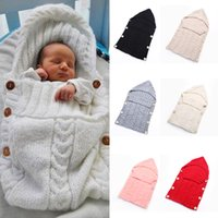 Wholesale Toddler Beds Wholesale - NewbornNewborn Knitted Sleeping Bags Baby Handmade Blankets Toddler Winter Wraps Photo Swaddling Nursery Bedding Stroller Baby Sleeping Bag