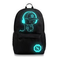 ingrosso borsa di animazione-2018 scuola zaino studente animazione luminosa per bambini sacchetti di scuola per adolescente USB computer di carica anti-furto zaino del computer portatile
