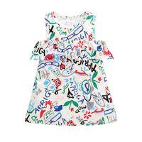 niños de graffiti al por mayor-Girls Graffiti Vestidos de chaleco volante Verano 2018 Kids Boutique Clothing Euro América 1-5T Niñas Vestidos sin mangas Envío de la gota