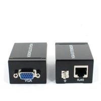 панель vga оптовых-VGA расширитель-ретранслятор по кабелю Cat5e / 6 до 60 М VGA UTP-расширитель работает с большинством мониторов, проекторов, HDTV и плоских панелей