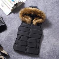 Wholesale Down Women Fur Vest - 2017 Brand Winter Vest Women Jacket Coat Down Cotton Casual Hooded Women's Fur Vests waistcoat Female vestidos Large size clothe
