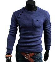 mehrfarbige pullover design großhandel-Die Strickjacken der Standardmänner arbeiten Oansatz Normallack-einzelne Taschen-Entwurfs-lange Hülsen-Pullover 7712 um Qualität geben Verschiffen frei