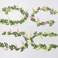 flor artificial vides de plástico al por mayor-Wisteria Rattan Plastic Artificial Flower Ceremony Wedding Decor Planta de Simulación de Vid Colorido Vain Fake Flowers Household Ornamento 10xk gg
