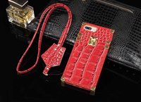Wholesale Iphone Crocodile Cover - 2018 New Arrival Crocodile pattern luxury trunk case phone shell for Apple iphone8 Case for iphone 7 8 Tpu Trunk case hard back cover