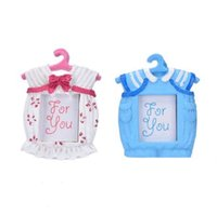 ingrosso immagini di bambino rosa-Piccola cornice in resina Baby Clothes Pattern Baby Photo Frame I migliori regali Decor Pink Blue Home Household