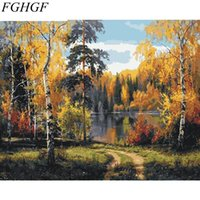 Wholesale hand landscapes forest - FGHGF Frameless Forest DIY Painting By Numbers Landscape Home Wall Art Picture Hand Painted Oil Painting For Home Decor Art