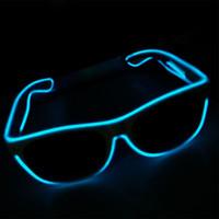 светодиодные солнечные очки оптовых-Мода женщин и мужчин мигающие очки EL провода светодиодные очки Halloween Party Eyewear Glow Sunglasses UV400 Drop Shipping W9