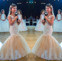 Wholesale teen girls short formal dresses - Champagne Mermaid High Low Girls Pageant Dresses for Teens New White Lace Appliques Tulle Flower Girl Dress Formal Kids Prom Party Gowns