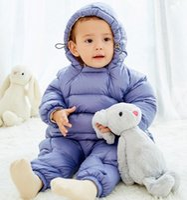 bebek kış giyim satışı toptan satış-Toptan satış 2018 yeni sonbahar ve kış bebek tulum aşağı pamuk tırmanma giysi açık dosya bebek out giyim suit