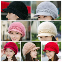 174c4fc9fb209 Lady Fashion Beanies beret Knitted Rabbit Fur Inside Wool Yarn Thickened  Warm Autumn Winter Women Solid Party Hats GGA1291