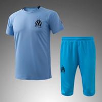 Wholesale Men Leisure Tracksuit - Marseille soccer tracksuit 16 17 short sleeve training football kits men's leisure sports training suits adult's outdoor soccer set uniform