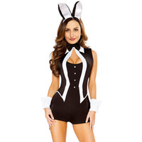Wholesale Dance Costume Tuxedo - Stage wear Sexy Tuxedo Bunny Costume new stage sleeveless plays the five-piece costume of the Halloween sexy beauty laddy