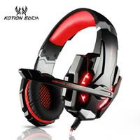 kopfhöreranschluss handy headset großhandel-New Cheap Kotion Jeder G9000 Gaming Headset Kopfhörer 3,5 mm Stereo Jack mit Mic LED Licht für PS4 / Tablet / Laptop / Handy DHL