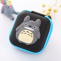 Wholesale cartoon cable holder - Anime Japanese Totoro Silicone Coin Purse USB Cable Earphone Holder Cute Cartoon Coin Key Storage Box Case Mini Gifts Wallets